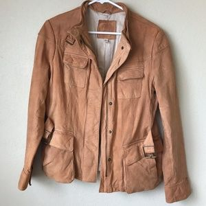BR 100% genuine leather light brown/tan jacket